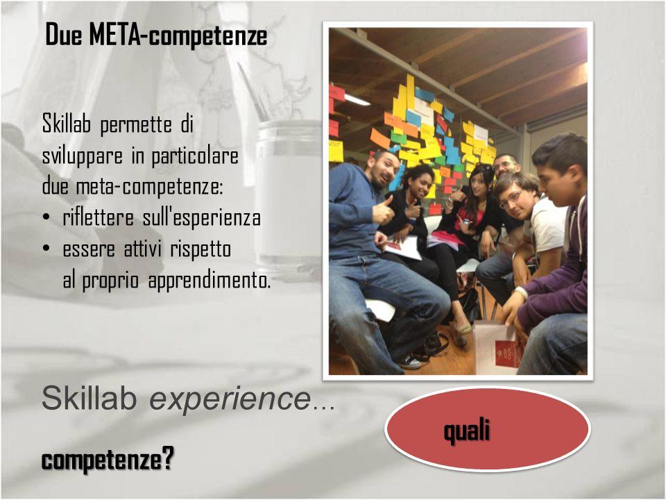 quali competenze? Skillab experience … quali competenze? Due META-competenze Skillab permette di sviluppare in particolare due meta-competenze: riflet