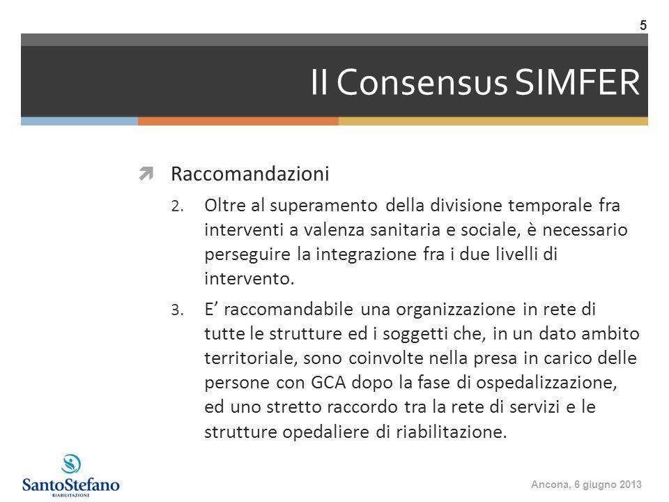 II Consensus SIMFER Raccomandazioni 2. Oltre al superamento della divisione temporale fra interventi a valenza sanitaria e sociale, è necessario perse