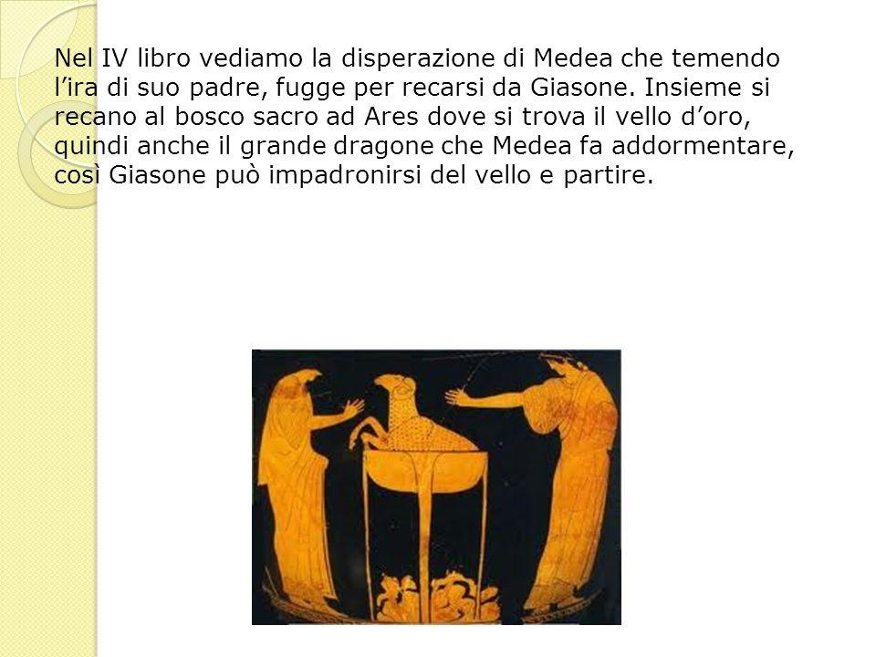 Nel IV libro vediamo la disperazione di Medea che temendo lira di suo padre, fugge per recarsi da Giasone. Insieme si recano al bosco sacro ad Ares do