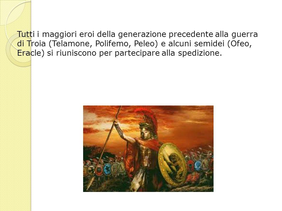 Tutti i maggiori eroi della generazione precedente alla guerra di Troia (Telamone, Polifemo, Peleo) e alcuni semidei (Ofeo, Eracle) si riuniscono per