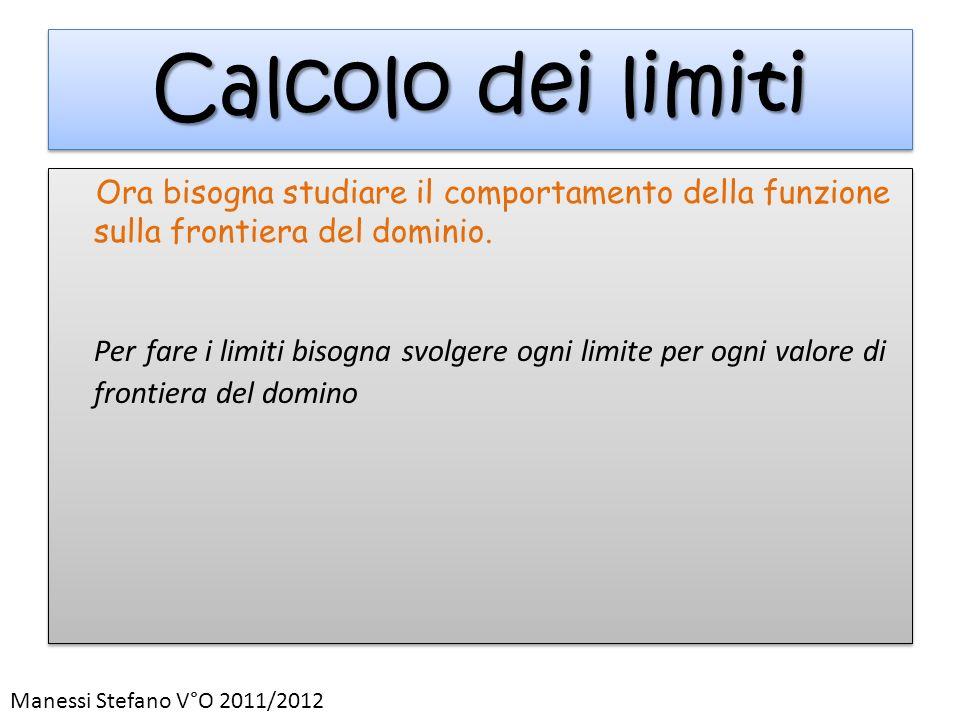 Calcolo dei limiti Ora bisogna studiare il comportamento della funzione sulla frontiera del dominio. Per fare i limiti bisogna svolgere ogni limite pe