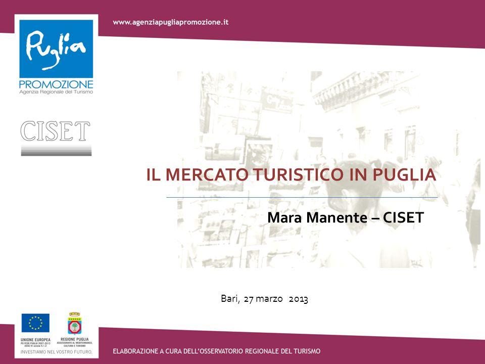 Bari, 27 marzo 2013 IL MERCATO TURISTICO IN PUGLIA Mara Manente – CISET