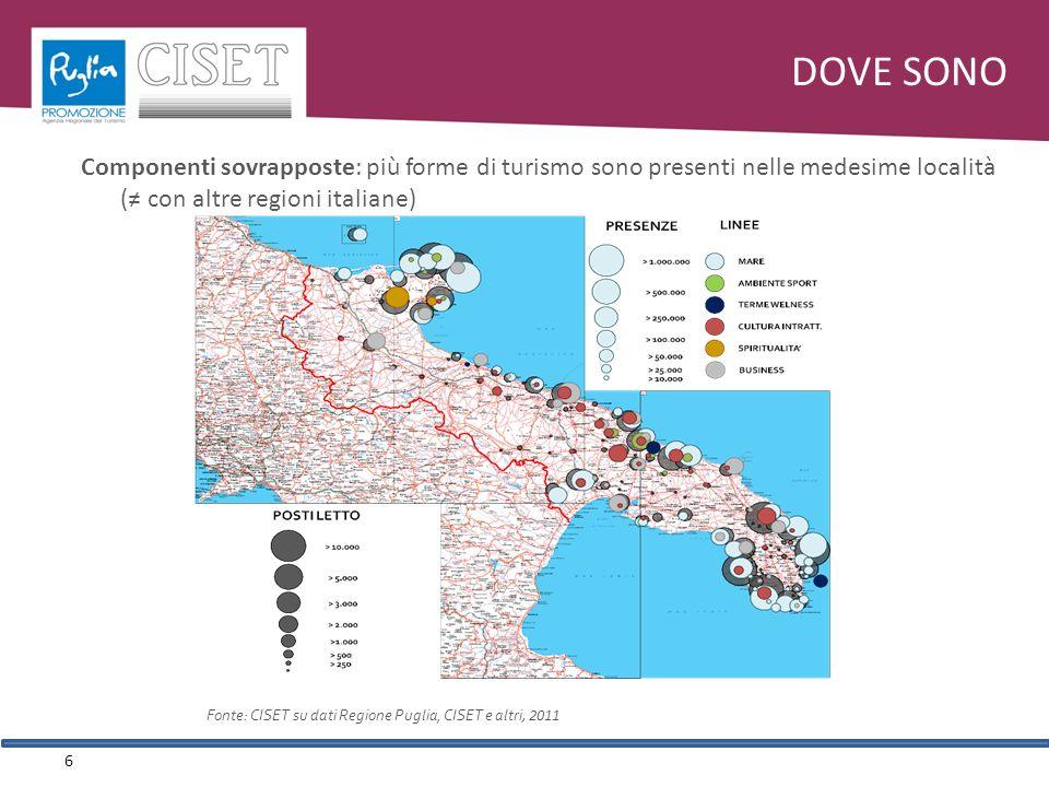 Componenti sovrapposte: più forme di turismo sono presenti nelle medesime località ( con altre regioni italiane) DOVE SONO 6 Fonte: CISET su dati Regione Puglia, CISET e altri, 2011