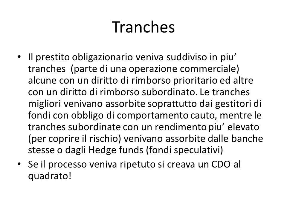Tranches Il prestito obligazionario veniva suddiviso in piu tranches (parte di una operazione commerciale) alcune con un diritto di rimborso prioritario ed altre con un diritto di rimborso subordinato.