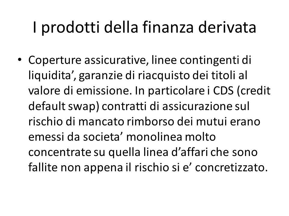 I prodotti della finanza derivata Coperture assicurative, linee contingenti di liquidita, garanzie di riacquisto dei titoli al valore di emissione.