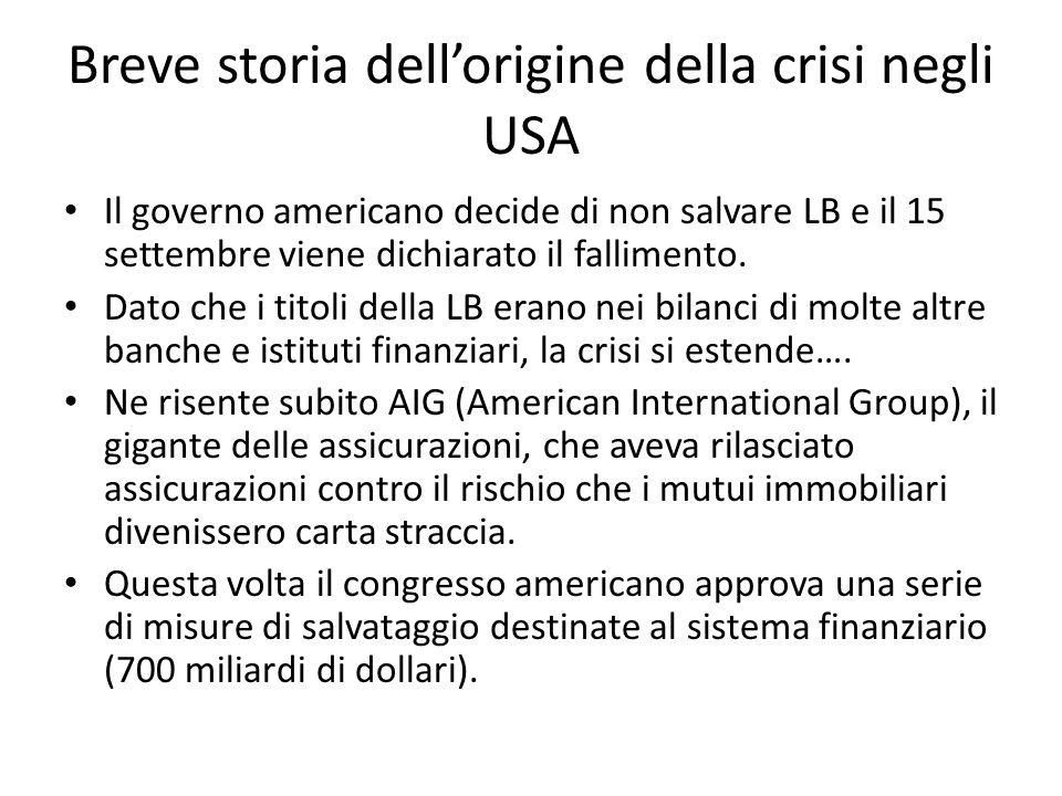 Breve storia dellorigine della crisi negli USA Il governo americano decide di non salvare LB e il 15 settembre viene dichiarato il fallimento.