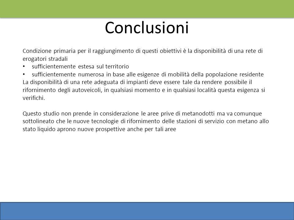 Conclusioni Condizione primaria per il raggiungimento di questi obiettivi è la disponibilità di una rete di erogatori stradali sufficientemente estesa