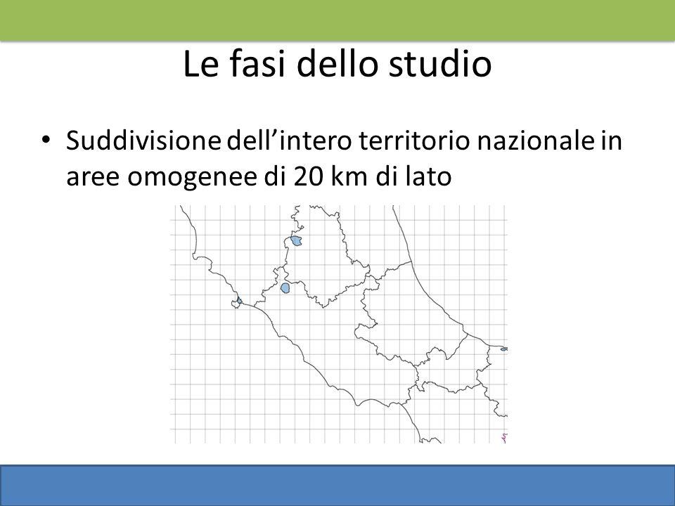 Le fasi dello studio Suddivisione dellintero territorio nazionale in aree omogenee di 20 km di lato