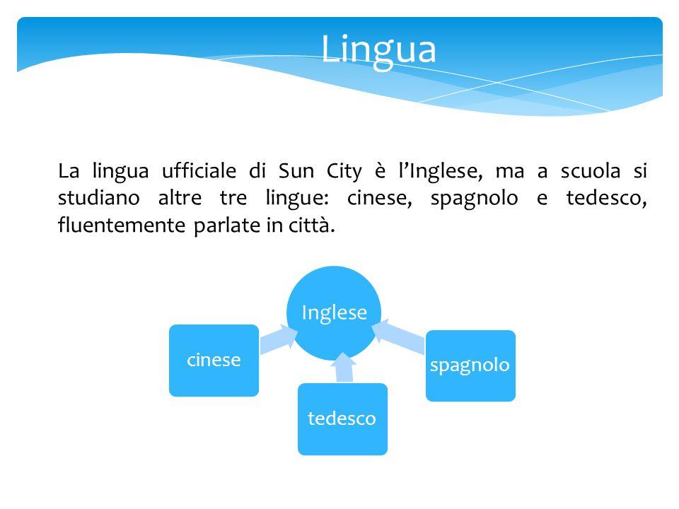 Lingua La lingua ufficiale di Sun City è lInglese, ma a scuola si studiano altre tre lingue: cinese, spagnolo e tedesco, fluentemente parlate in città