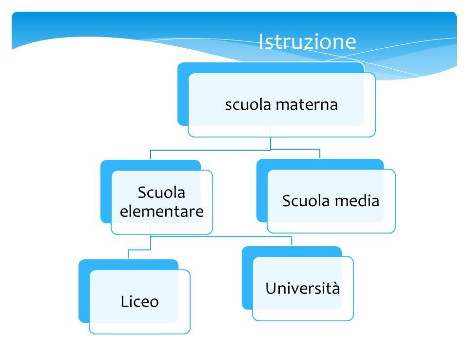 scuola materna Scuola elementare LiceoUniversitàScuola media Istruzione