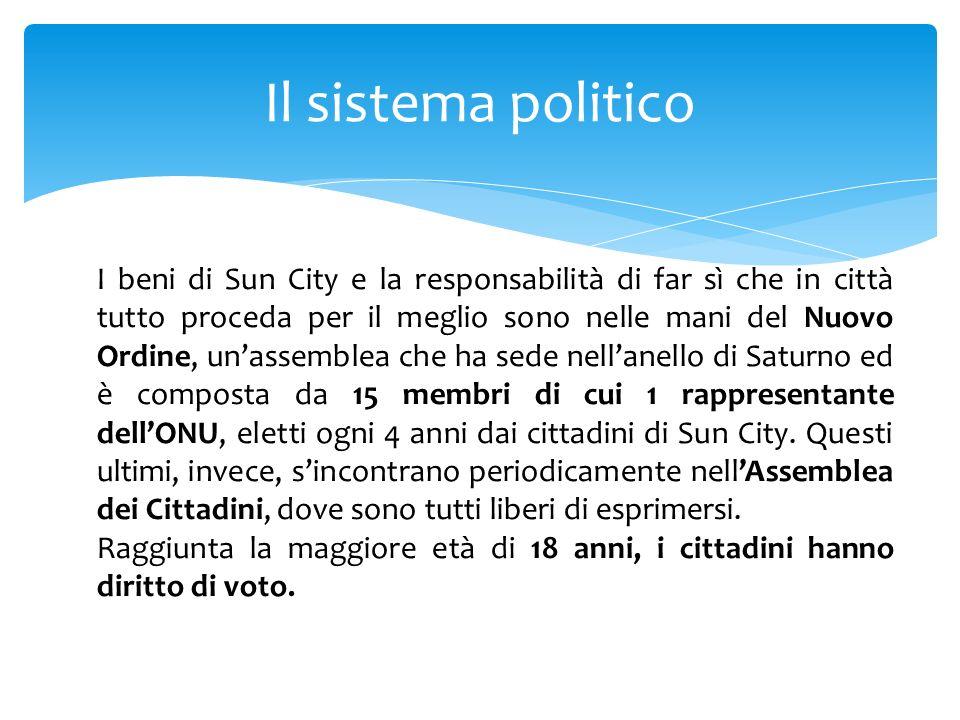Il sistema politico I beni di Sun City e la responsabilità di far sì che in città tutto proceda per il meglio sono nelle mani del Nuovo Ordine, unasse