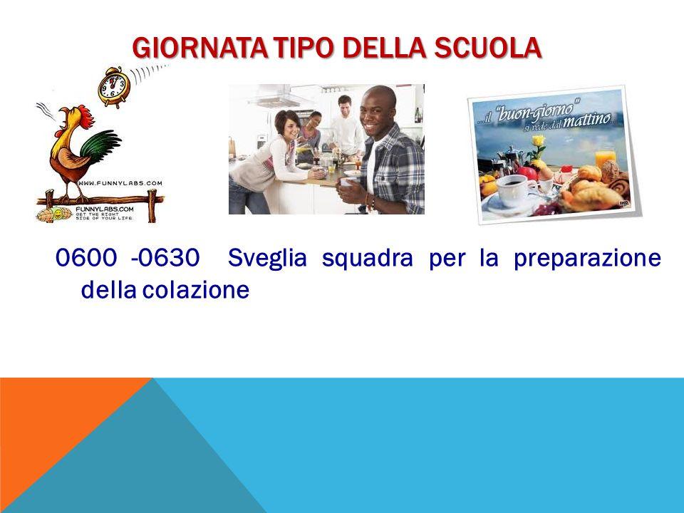 GIORNATA TIPO DELLA SCUOLA 0600 -0630 Sveglia squadra per la preparazione della colazione