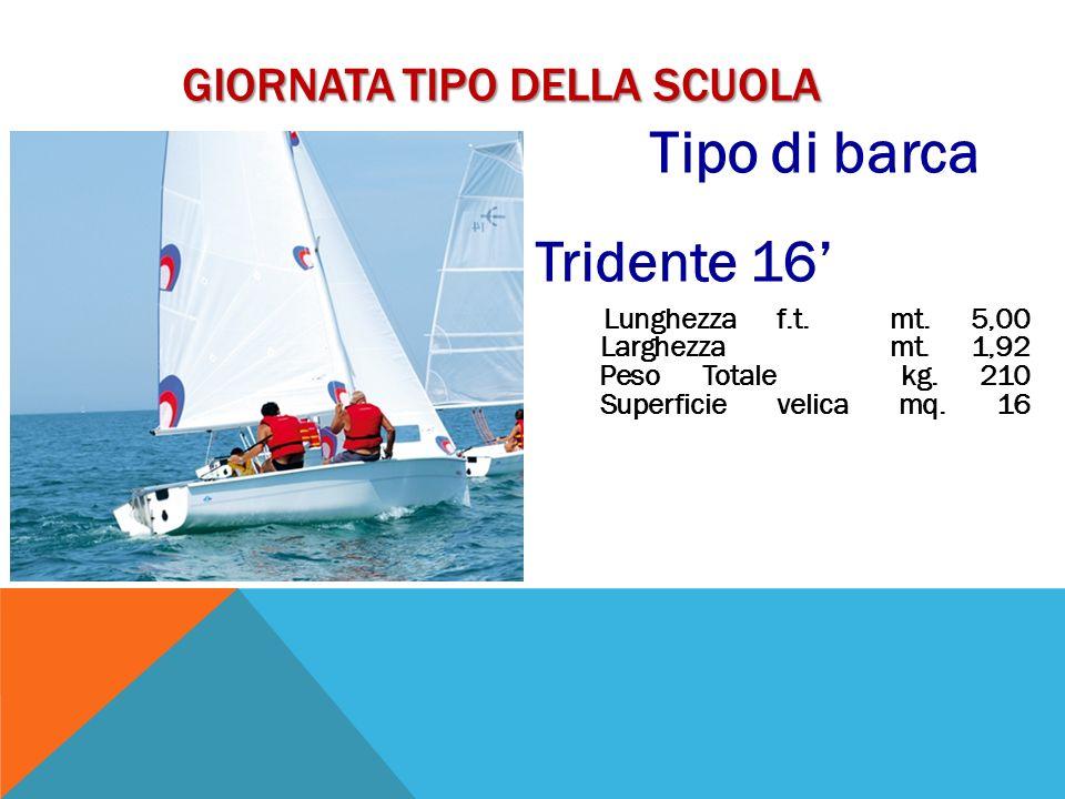 GIORNATA TIPO DELLA SCUOLA Tipo di barca Tridente 16 Lunghezza f.t. mt. 5,00 Larghezza mt. 1,92 Peso Totale kg. 210 Superficie velica mq. 16