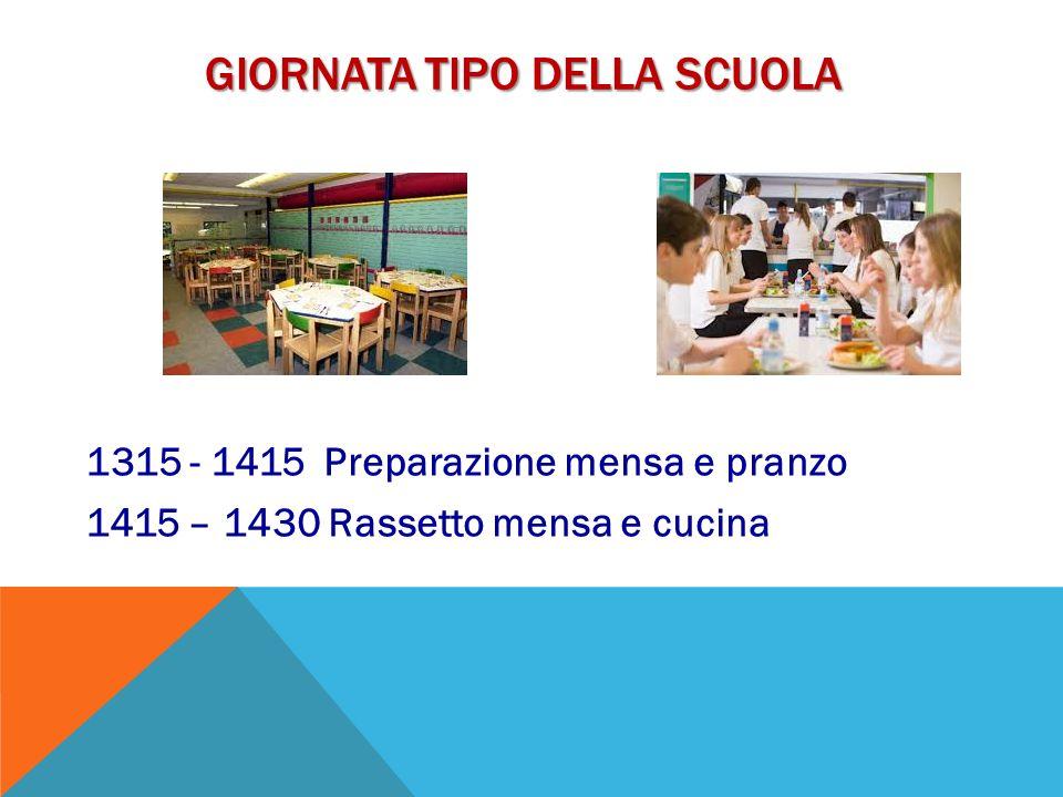 GIORNATA TIPO DELLA SCUOLA 1315 - 1415 Preparazione mensa e pranzo 1415 – 1430 Rassetto mensa e cucina