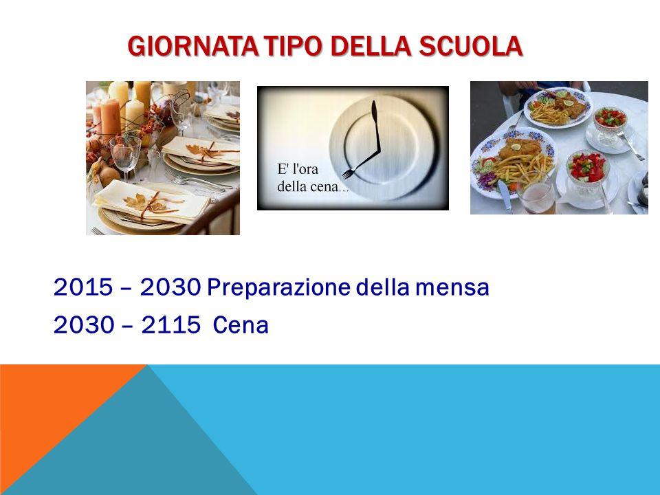 GIORNATA TIPO DELLA SCUOLA 2015 – 2030 Preparazione della mensa 2030 – 2115 Cena