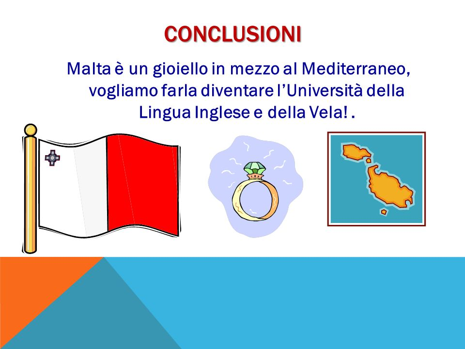CONCLUSIONI Malta è un gioiello in mezzo al Mediterraneo, vogliamo farla diventare lUniversità della Lingua Inglese e della Vela!.