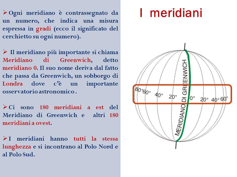 Ogni meridiano è contrassegnato da un numero, che indica una misura espressa in gradi (ecco il significato del cerchietto su ogni numero).