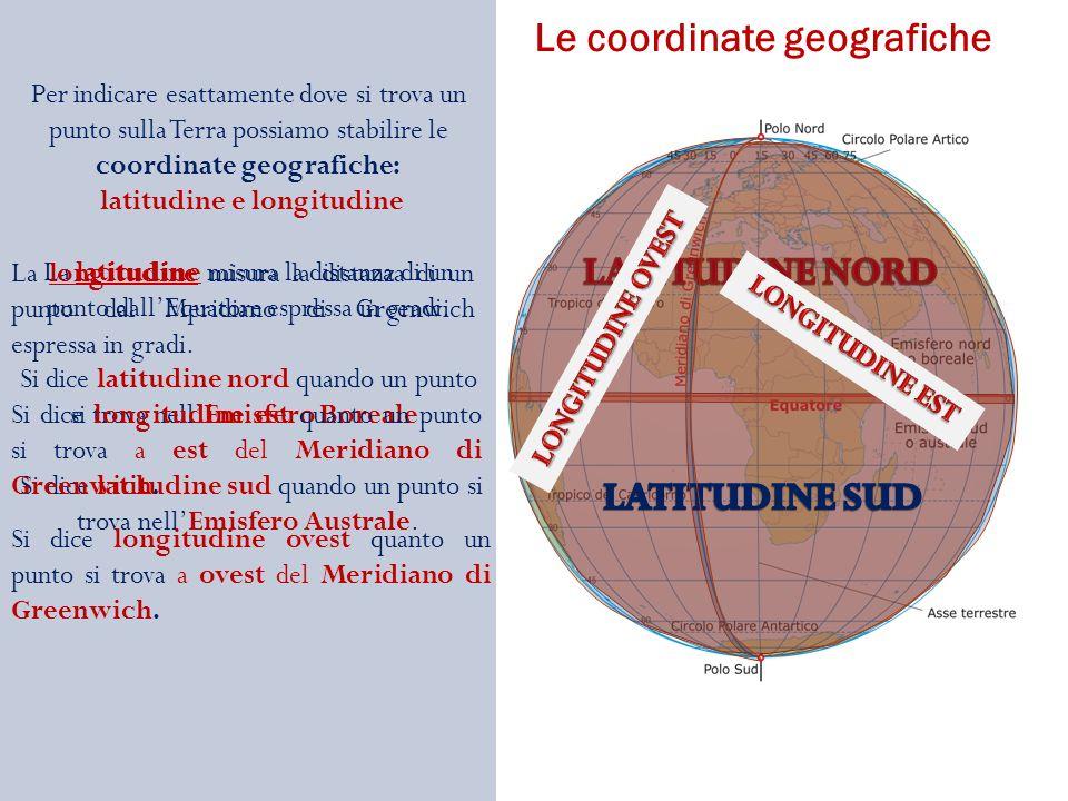 Per indicare esattamente dove si trova un punto sulla Terra possiamo stabilire le coordinate geografiche: latitudine e longitudine La latitudine misura la distanza di un punto dallEquatore espressa in gradi.
