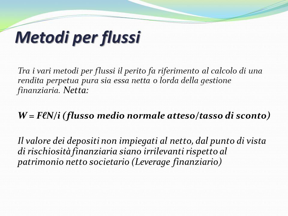 Metodi per flussi Tra i vari metodi per flussi il perito fa riferimento al calcolo di una rendita perpetua pura sia essa netta o lorda della gestione