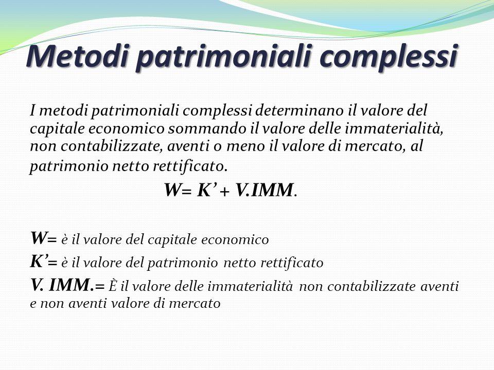 Metodi patrimoniali complessi I metodi patrimoniali complessi determinano il valore del capitale economico sommando il valore delle immaterialità, non