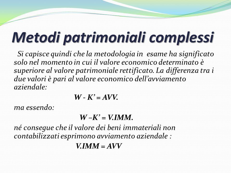 Metodi patrimoniali complessi Si capisce quindi che la metodologia in esame ha significato solo nel momento in cui il valore economico determinato è s