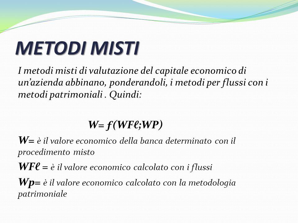 METODI MISTI I metodi misti di valutazione del capitale economico di unazienda abbinano, ponderandoli, i metodi per flussi con i metodi patrimoniali.