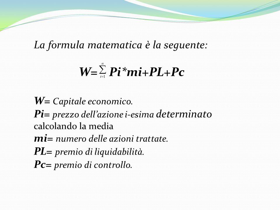 La formula matematica è la seguente: W= Pi*mi+PL+Pc W= Capitale economico. Pi= prezzo dellazione i-esima determinato calcolando la media mi= numero de