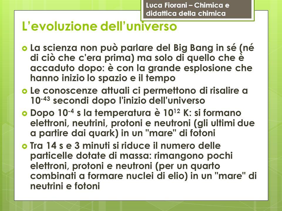 Luca Fiorani – Chimica e didattica della chimica Levoluzione delluniverso La scienza non può parlare del Big Bang in sé (né di ciò che c'era prima) ma