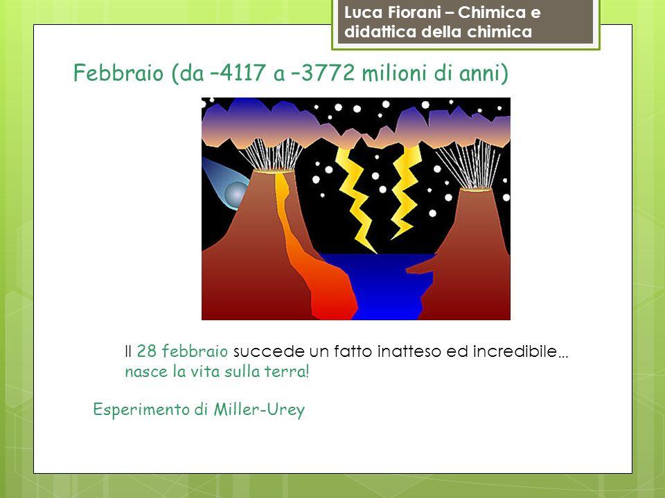 Luca Fiorani – Chimica e didattica della chimica Febbraio (da –4117 a –3772 milioni di anni) Il 28 febbraio succede un fatto inatteso ed incredibile …