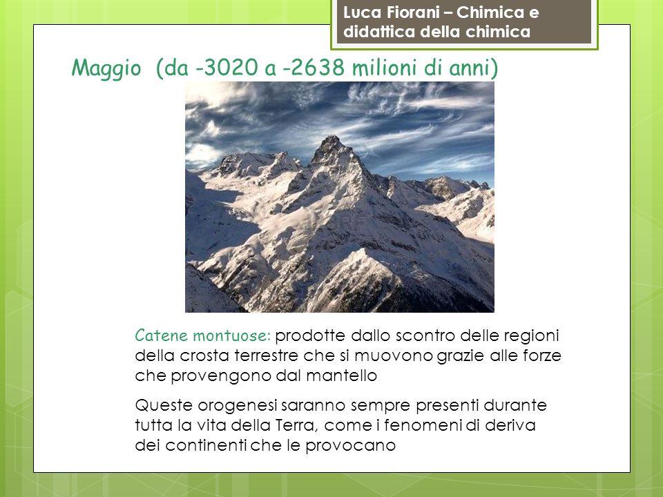 Luca Fiorani – Chimica e didattica della chimica Maggio (da -3020 a -2638 milioni di anni) Catene montuose: prodotte dallo scontro delle regioni della