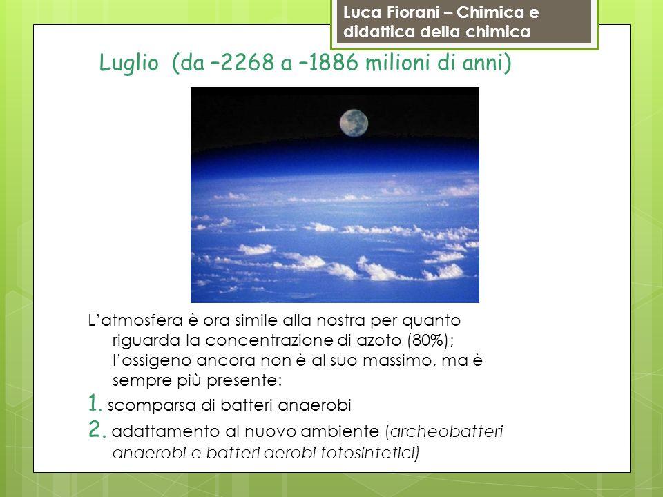 Luca Fiorani – Chimica e didattica della chimica Luglio (da –2268 a –1886 milioni di anni) Latmosfera è ora simile alla nostra per quanto riguarda la