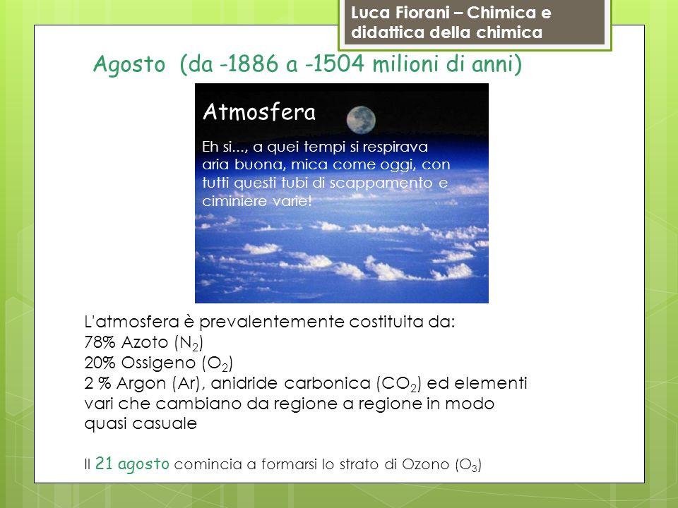Luca Fiorani – Chimica e didattica della chimica L'atmosfera è prevalentemente costituita da: 78% Azoto (N 2 ) 20% Ossigeno (O 2 ) 2 % Argon (Ar), ani