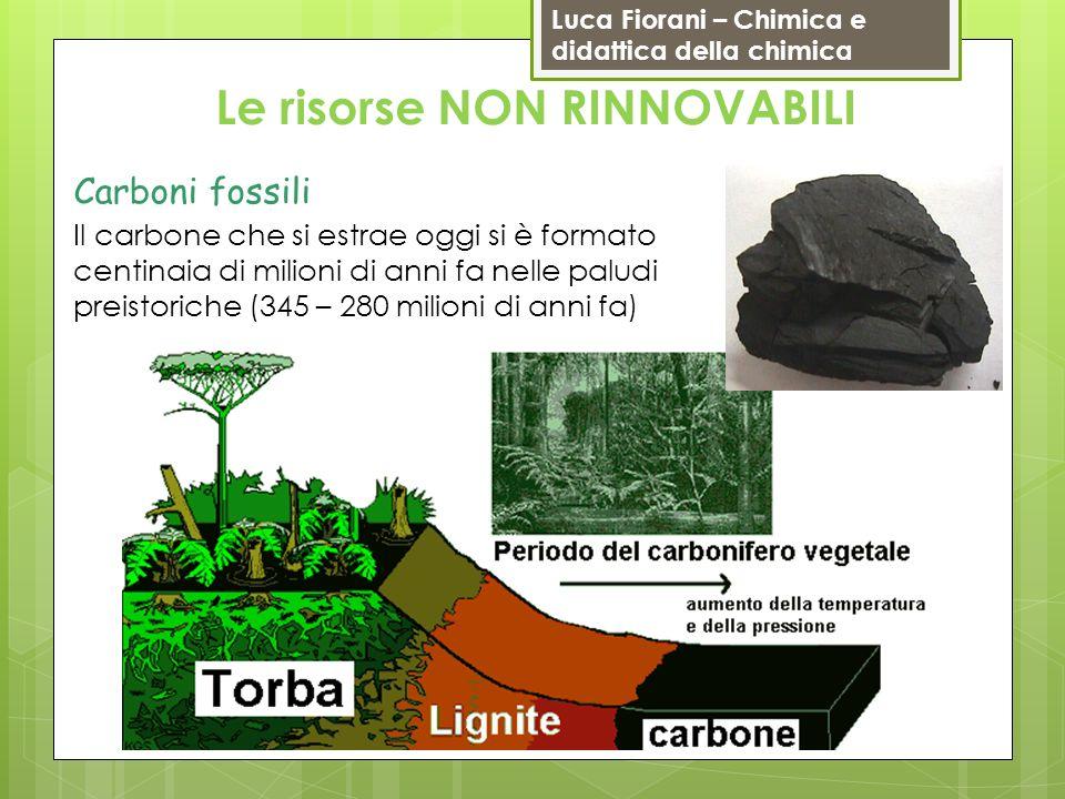 Luca Fiorani – Chimica e didattica della chimica Carboni fossili Le risorse NON RINNOVABILI Il carbone che si estrae oggi si è formato centinaia di mi