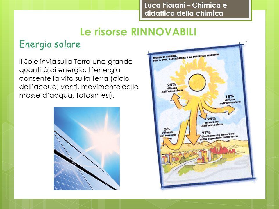 Luca Fiorani – Chimica e didattica della chimica Le risorse RINNOVABILI Energia solare Il Sole invia sulla Terra una grande quantità di energia. Lener