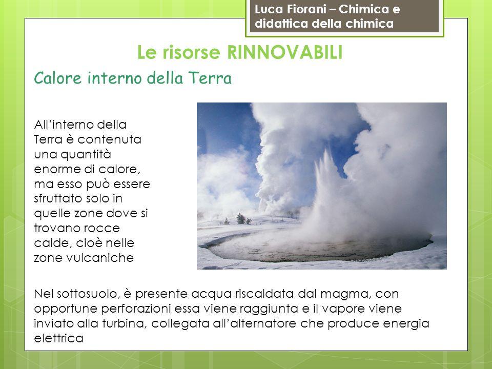 Luca Fiorani – Chimica e didattica della chimica Le risorse RINNOVABILI Calore interno della Terra Nel sottosuolo, è presente acqua riscaldata dal mag