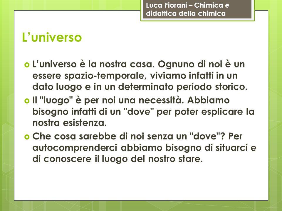 Luca Fiorani – Chimica e didattica della chimica Luniverso Luniverso è la nostra casa. Ognuno di noi è un essere spazio-temporale, viviamo infatti in