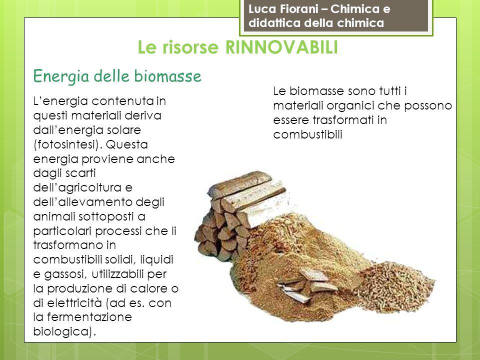 Luca Fiorani – Chimica e didattica della chimica Le risorse RINNOVABILI Energia delle biomasse Le biomasse sono tutti i materiali organici che possono