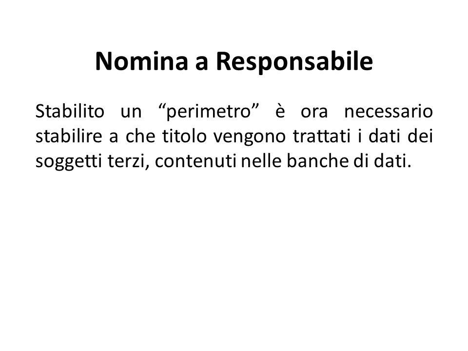 Nomina a Responsabile Stabilito un perimetro è ora necessario stabilire a che titolo vengono trattati i dati dei soggetti terzi, contenuti nelle banche di dati.
