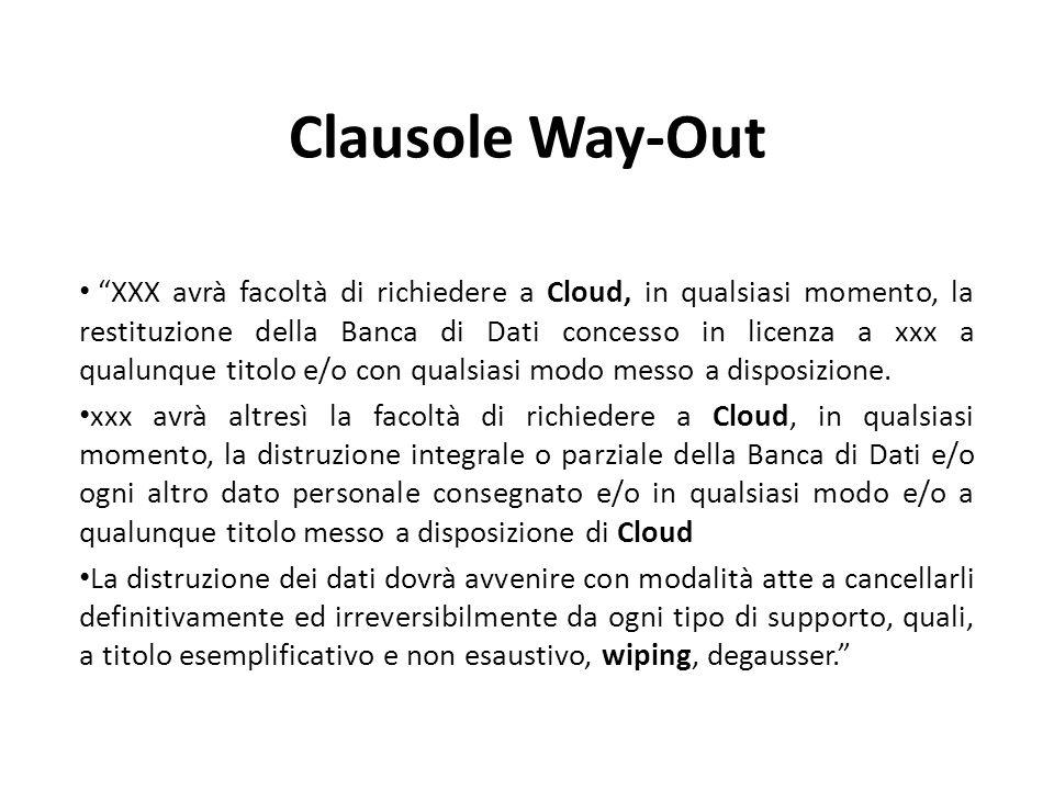 Clausole Way-Out XXX avrà facoltà di richiedere a Cloud, in qualsiasi momento, la restituzione della Banca di Dati concesso in licenza a xxx a qualunque titolo e/o con qualsiasi modo messo a disposizione.