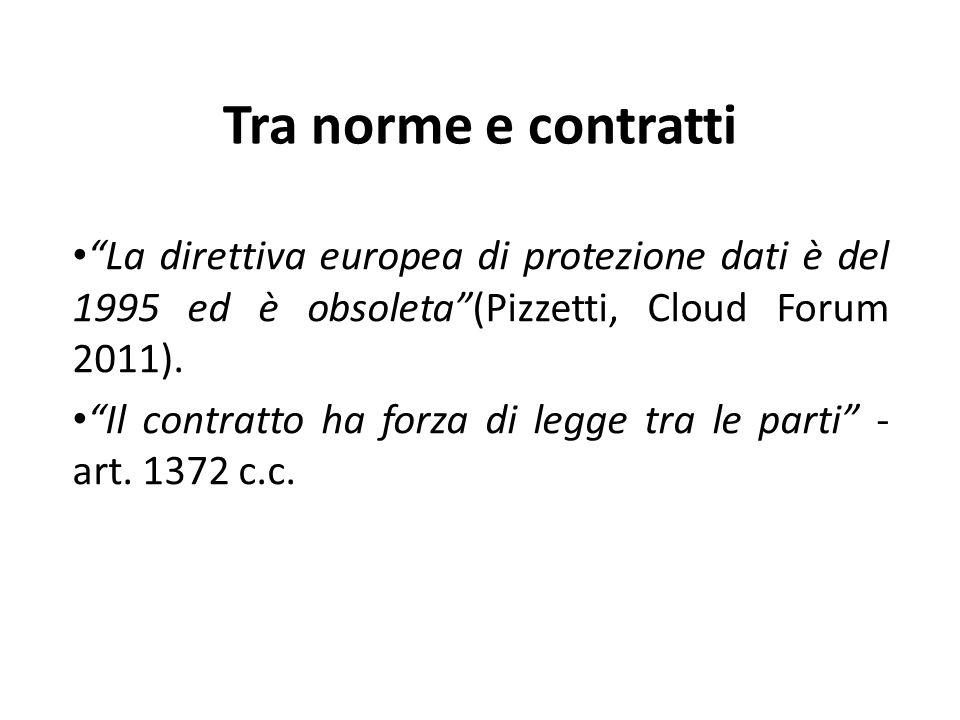 Tra norme e contratti La direttiva europea di protezione dati è del 1995 ed è obsoleta(Pizzetti, Cloud Forum 2011).
