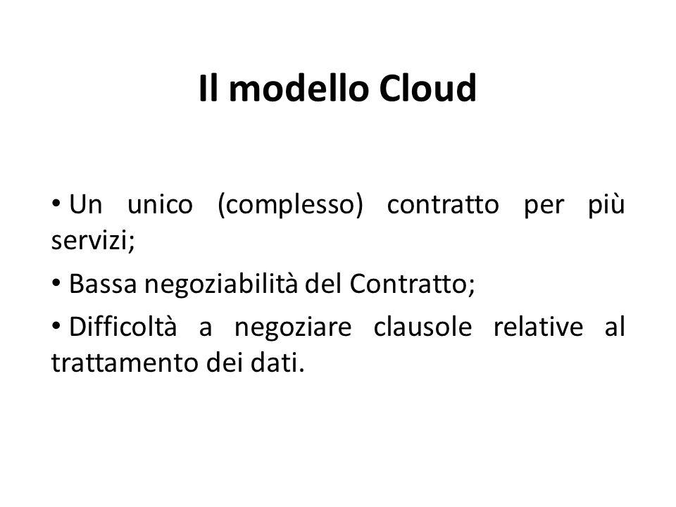 Il modello Cloud Un unico (complesso) contratto per più servizi; Bassa negoziabilità del Contratto; Difficoltà a negoziare clausole relative al trattamento dei dati.