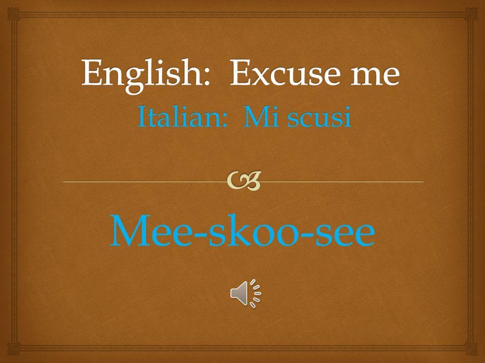 Italian: Italian: Mi dispiace, non parla Francaise Mee dis-pee-ah-chā, non par-lah Frôn-chā-sā