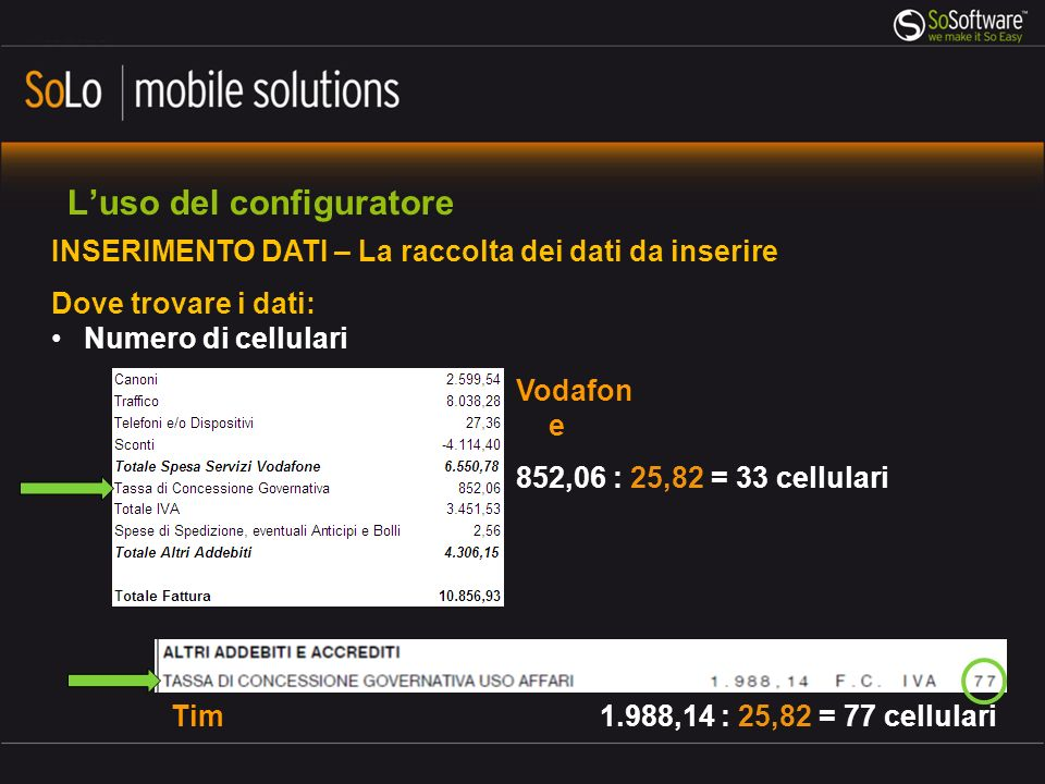 Luso del configuratore INSERIMENTO DATI – La raccolta dei dati da inserire Dove trovare i dati: Numero di cellulari 852,06 : 25,82 = 33 cellulari 1.988,14 : 25,82 = 77 cellulari Vodafon e Tim