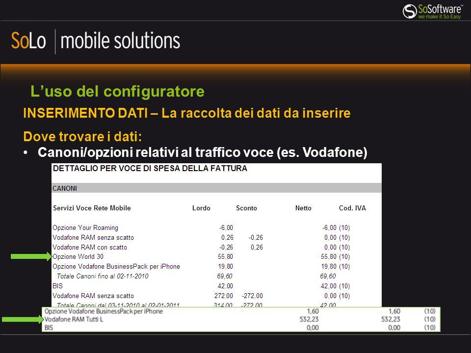 Luso del configuratore INSERIMENTO DATI – La raccolta dei dati da inserire Dove trovare i dati: Canoni/opzioni relativi al traffico voce (es. Vodafone