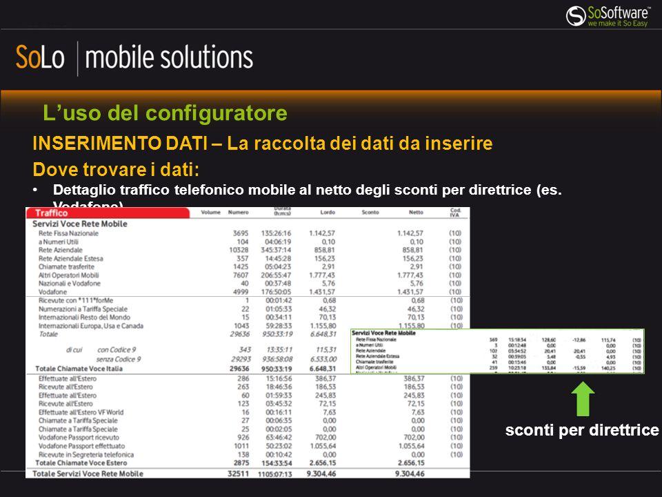 Luso del configuratore INSERIMENTO DATI – La raccolta dei dati da inserire Dove trovare i dati: Dettaglio traffico telefonico mobile al netto degli sconti per direttrice (es.