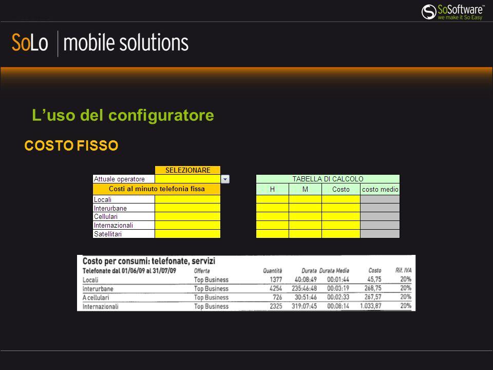 Luso del configuratore INSERIMENTO DATI – La raccolta dei dati da inserire Dove trovare i dati: Sconti legati al volume complessivo del traffico generato dallazienda (es.