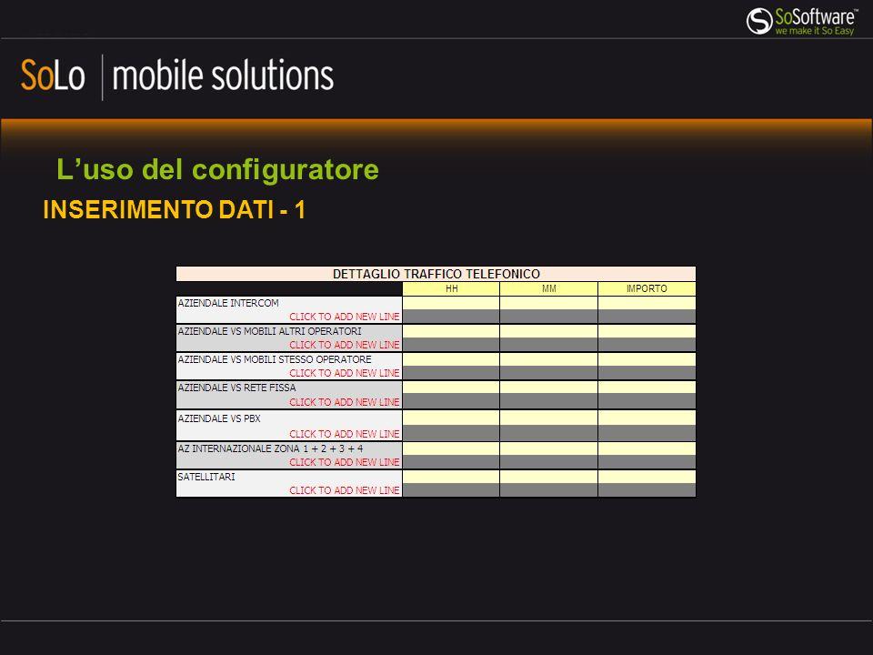 Luso del configuratore INSERIMENTO DATI - 1