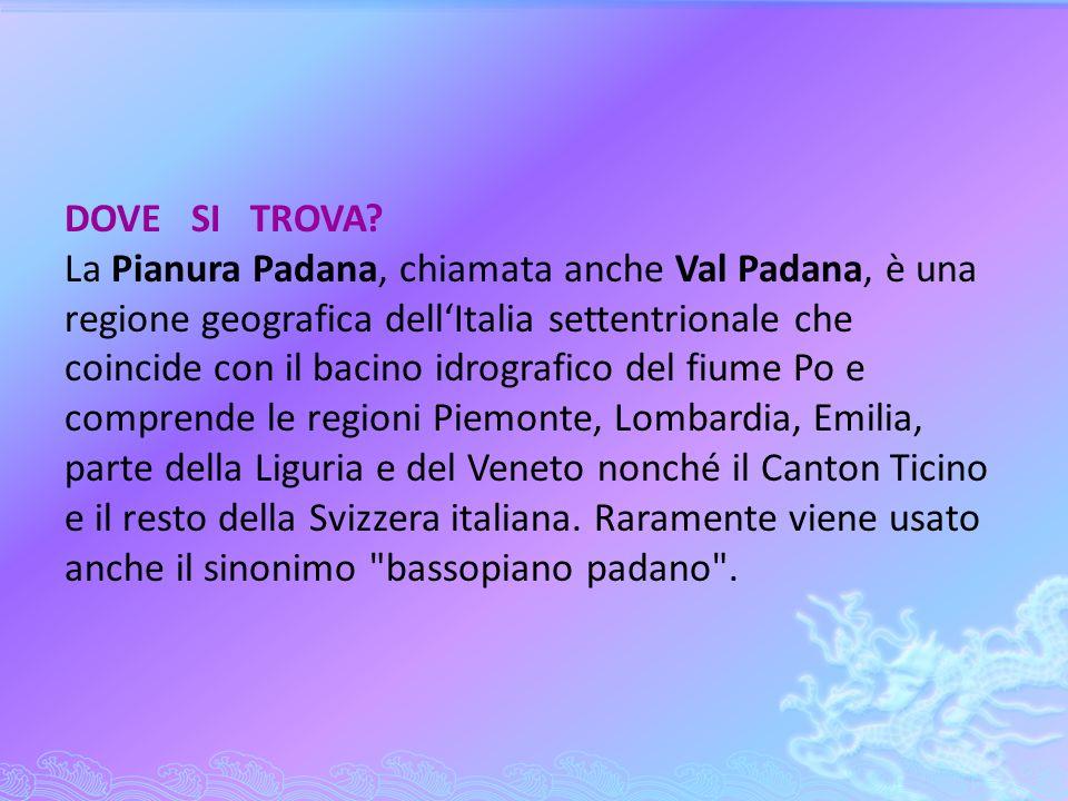 DOVE SI TROVA? La Pianura Padana, chiamata anche Val Padana, è una regione geografica dellItalia settentrionale che coincide con il bacino idrografico