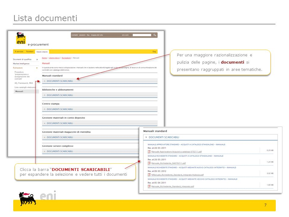 Lista documenti Clicca la barra DOCUMENTI SCARICABILI per espandere la selezione e vedere tutti i documenti Per una maggiore razionalizzazione e puliz