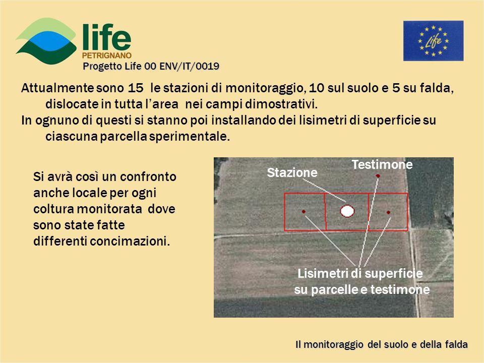 Attualmente sono 15 le stazioni di monitoraggio, 10 sul suolo e 5 su falda, dislocate in tutta larea nei campi dimostrativi.